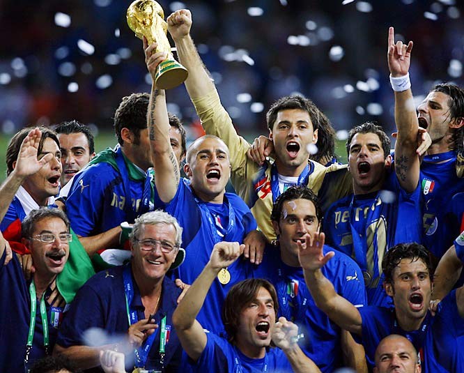 After a 1-1 draw with France, Italy won 5-3 in a shootout in Berlin to clinch its fourth world title. The tournament set a record for yellow and red cards, including the ejection of French captain Zinedine Zidane following his infamous headbutt in the 107th minute of the final.