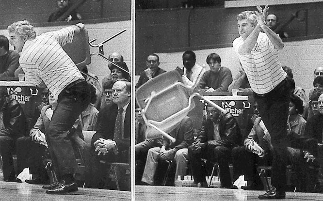 Knight blew his top during a 72-63 loss to Purdue. Known for throwing tantrums, Knight crossed the line when he threw a chair across the court at Assembly Hall. Knight's furor was raised when he was charged with a technical while protesting a foul called on Daryl Thomas.
