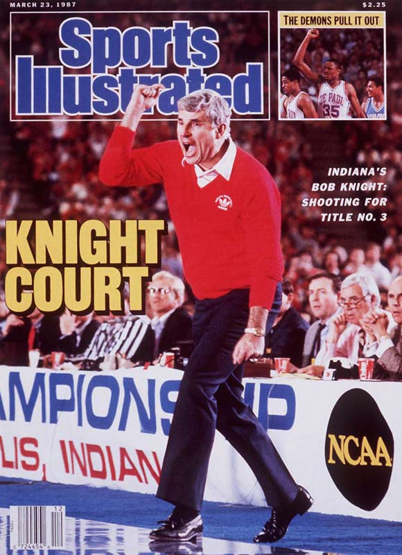 Seven days before Knight celebrated his third national championship with a victory over Syracuse, SI put Knight on the cover after beating Auburn, 107-90, in the NCAA tournament. Keith Smart hit a 16-foot jump shot in the final seconds to beat the Orangemen, 74-73, in the final.