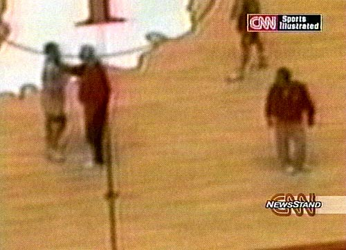 "A team videotape of a 1997 practice at Assembly Hall captured Knight grabbing hold of junior point guard Neil Reed's neck. Reed had previously alleged that Knight had choked him, and the video appears to substantiate his claim. CNN/Sports Illustrated received a tape of the incident after airing a report on March 14, 2000, exploring reasons why three high school All-America players had transferred out of Indiana. ""It was disgusting to me,"" Reed said. ""I don't need a tape to tell me what happened."""