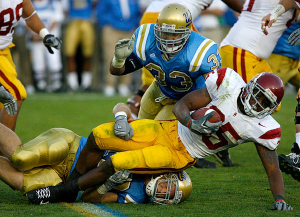 The UCLA defense held USC's prize freshman, C.J. Gable, to just 52 yards on 19 carries.