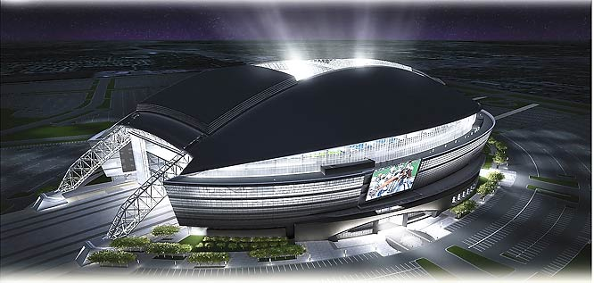 The stadium's extensive use of glass will allow the facility to glow blue and silver, the Cowboys' traditional colors.