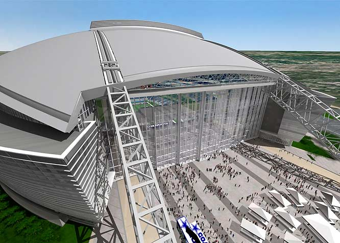 "The glass exterior is an eye-catching feature, as are the two steel arches that run all the way through the stadium, peaking at 320 feet above the playing field. ""I'm convinced it's a building that will be a classic when it comes to looking at its design,"" Cowboys owner Jerry Jones said."