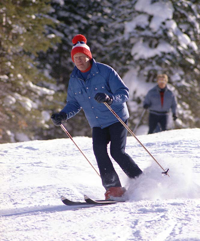 President Ford loved to ski and often hit the slopes in Colorado (shown here in Vail in Dec. 1974).
