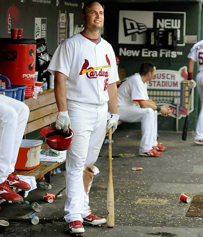 Matt Holliday joined baseball's $100 million club on Jan. 5, 2010, when he re-signed with the Cardinals. St. Louis rewarded Holliday with a contract that will pay him more than $17 million on average for each of the seven seasons and a full no-trade clause. Holliday batted .353 with 13 home runs and 55 RBIs in 63 games with the Cardinals after being acquired in a July '09 trade from the Oakland Athletics. He helped stabilize their batting order by providing a consistent power threat in the cleanup spot behind NL MVP Albert Pujols. When they added Holliday on July 24, the Cardinals led the NL Central by just 1 1/2 games, but by the end of August their lead had swelled to 10 games and they cruised to the division title.