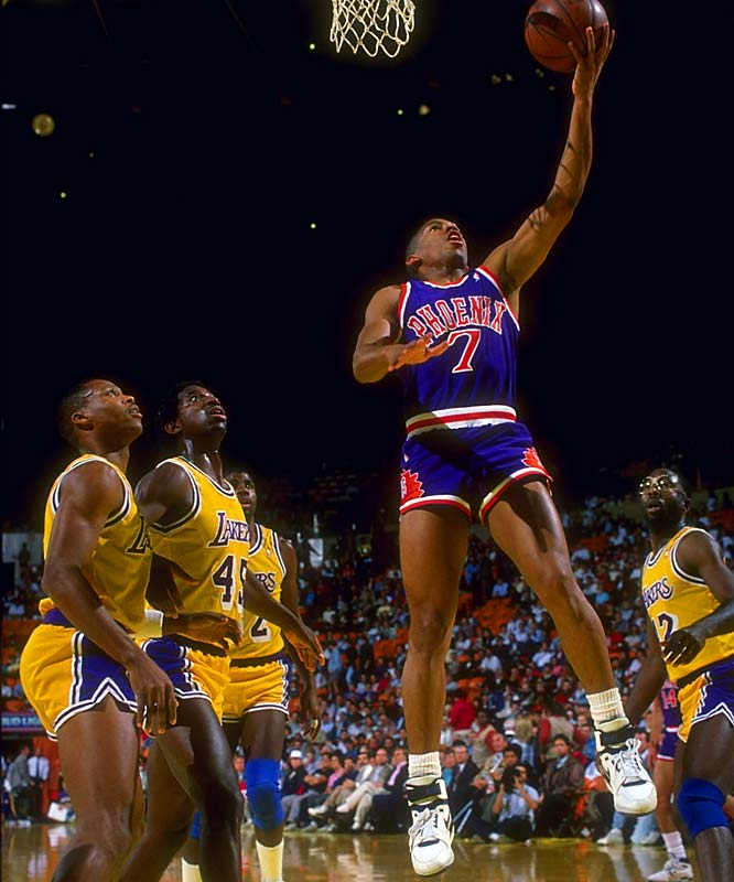 The Suns acquired KJ, the seventh pick in the 1987 draft, in the middle of his rookie season in a five-player trade that also netted them Mark West and Tyrone Corbin from the Cavaliers. Johnson, who had been stuck behind point guard Mark Price in Cleveland, went on to become a three-time All-Star and the dynamic floor leader of Phoenix's 1993 Finals team. The Cavs, meanwhile, also did well in the trade, obtaining starting forwards Larry Nance and Mike Sanders to play alongside center Brad Daugherty.