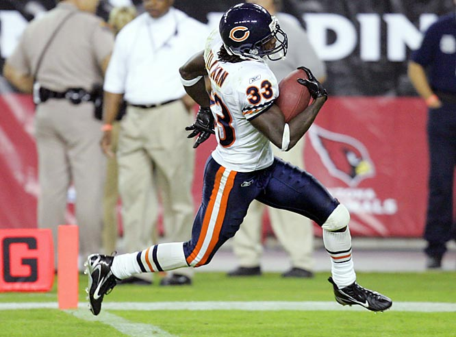 The Bears were down 20-0 to the Cardinals at halftime and seemed beaten. Arizona's defense had totally figured out Chicago's offense and the Cards' rookie quarterback Matt Leinart looked great. But chaos ensued in the second half, and the Bears ended up on top. Both Mike Brown and Charles Tillman (pictured) returned fumbles for TDs, and rookie Devin Hester returned a punt for an 83-yard score. The Bears remained undefeated, but their notions of a perfect season were dashed by a loss to the Dolphins in Week 9.