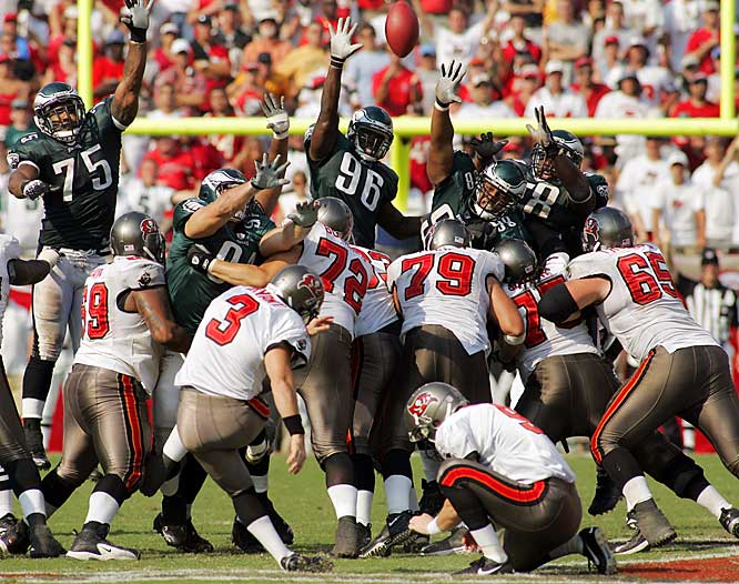 Entering the Week 7 game against the Eagles, Matt Bryant was 0-for-3 from beyond 40 yards. But the Bucs' veteran kicker was able to nail a 62-yarder in the final seconds to give Tampa Bay a 23-21 victory. Bryant's boot was one of the few bright spots in the Bucs' disastrous season.