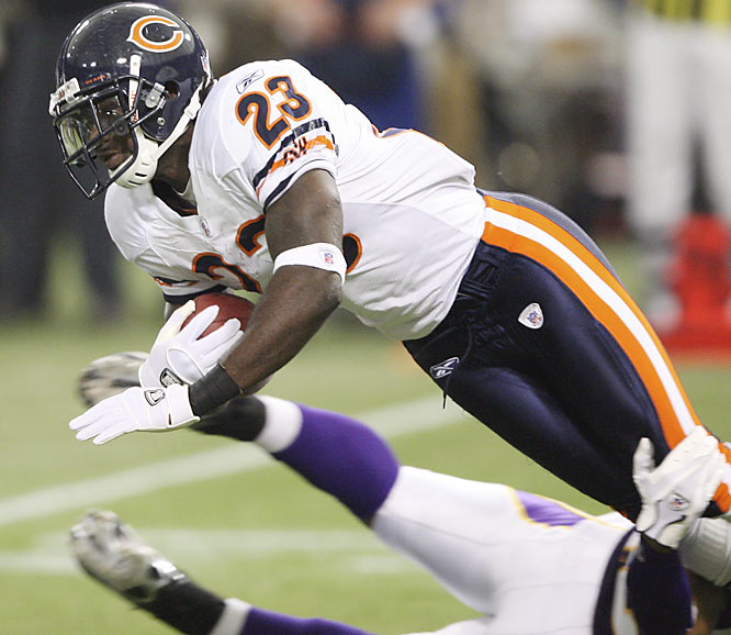 The Bears turned a major weakness, punt returning, into a huge strength by drafting Hester in the second round. The former Miami Hurricane has already set the all-time NFL single-season record for return touchdowns. He has three punt-return touchdowns, two kickoff-return touchdowns and he ran a missed field goal back for a score. He scared coaches a bit at the beginning of the season, but now he's being compared to Deion Sanders.