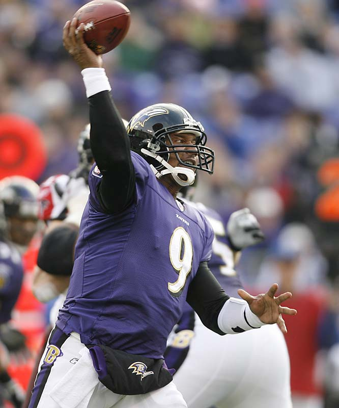 McNair doesn't have gaudy numbers -- he has an 83.9 passer rating -- but the former Titans star has given Baltimore enough offense to go 10-3, quite an improvement over last year's 6-10 mark. Most importantly, McNair has avoided mistakes. He hasn't thrown an interception in his last four games.