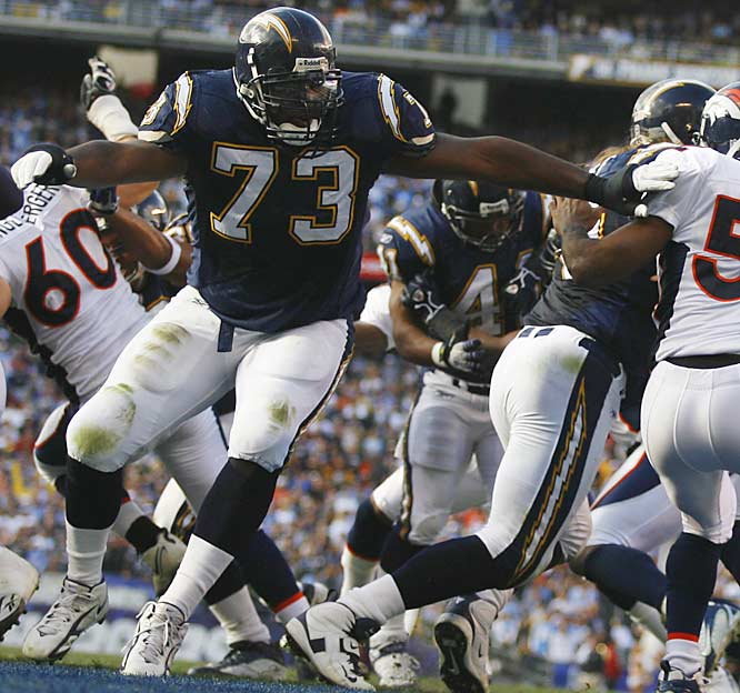 Starting a rookie at left tackle doesn't sound like a wise move, especially if you're a veteran team with playoff aspirations. But the Chargers made an incredible second-round pick. McNeill, a 340-pound monster out of Auburn, has protected young quarterback Philip Rivers all season, and many of LaDainian Tomlinson's NFL record 29 touchdowns have come on the left side.