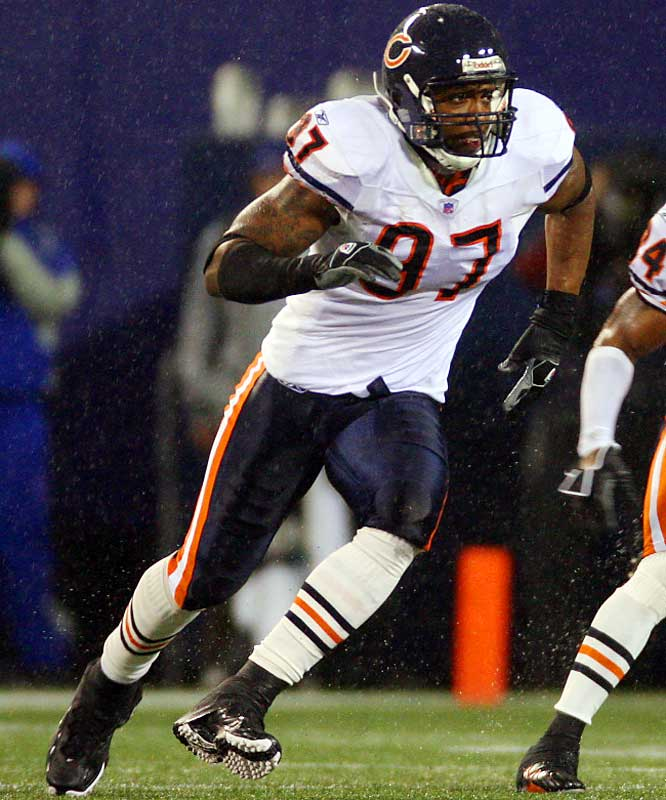Last Week: 8 <br><br>Anderson didn't improve on his Bears rookie record of 10 sacks in last weekend's game against Tampa Bay. In fact, he didn't have a single tackle. But with Tommie Harris out for the season with an injury and Tank Johnson suspended for one game, the Bears are counting on Anderson.