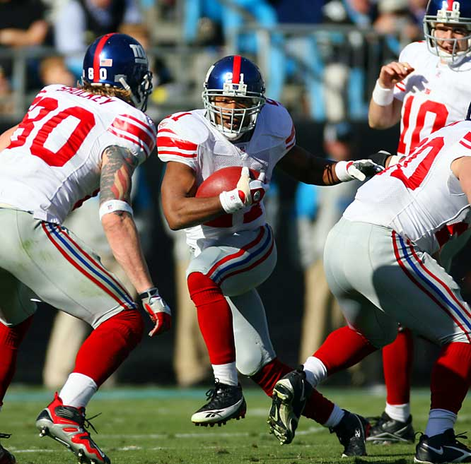 Barber announced 2006 would be his last season, but he is still at the top of his game. Entering Week 15, Barber ranked fourth in the NFL with 1,282 rushing yards. Barber already owns most of the major Giants' records and his lifetime statistics put him in the top 25 of several major categories.
