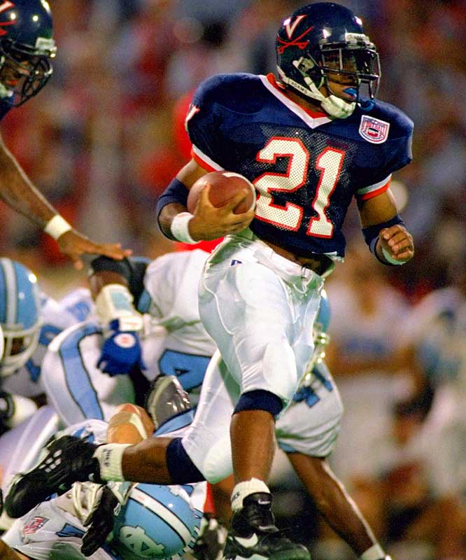 Tiki Barber is second on Virginia's career list for rushing yards with 3,389, trailing only Thomas Jones. He had 19 100-yard games in a stellar career. He was also a standout sprinter and long jumper on the UVA track team.