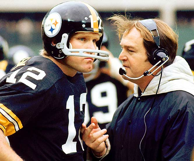 These two didn't even particularly like each other for most of their early years together, but starting with 1974, when Bradshaw was installed as the Steelers' full-time No. 1 quarterback in midseason, Pittsburgh reeled off four Super Bowl wins in six seasons, which hasn't been equaled since.