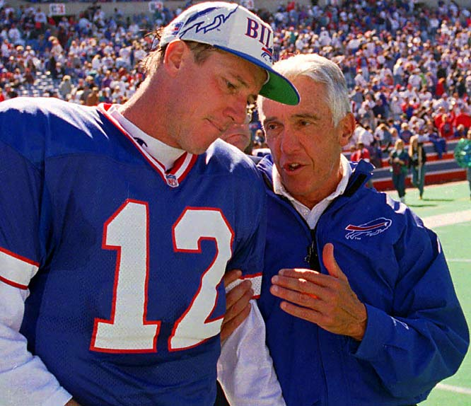 Though they never scaled the NFL's highest peak, there's room on our list for this underrated pairing, which led Buffalo to four consecutive Super Bowl trips in the early 1990s. Kelly and Levy won using the Bills' K-Gun no-huddle offense, which featured multiple formation calls that confused defenses and did not allow them to substitute and match up against the potent Bills.
