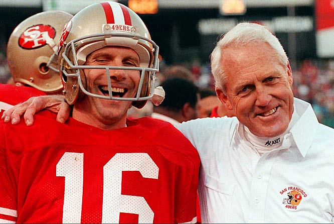 In their 10 seasons together (1979-88) in San Francisco, they won three Super Bowls and made the playoffs seven times. But the best part of their partnership was how Walsh drafted Montana in the third round in 1979 and helped mold him from the ground up. Montana was already a clutch quarterback when he arrived from Notre Dame. Playing for Walsh, he became a great quarterback, and the game's preeminent performer in the 1980s.