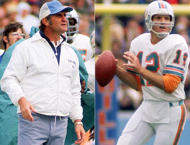Dan Marino dominates both the NFL and the Dolphins' record books for his passing feats, but it was Griese who was under center when Shula won his two Super Bowl rings. The 1971-73 Dolphins went to three consecutive Super Bowls, going 44-6-1 in that span, the centerpiece of which was their 17-0 perfect season in 1972.