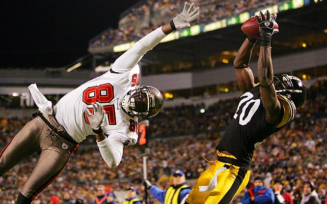 Cornerback Bryant McFadden intercepts a pass in the end zone intended for Tampa receiver Maurice Stovall.  The Pittsburgh D intercepted rookie quarterback Bruce Gradkowski three times.