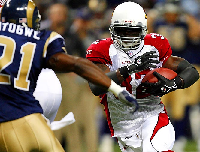 Edgerrin James ran for 115 yards against St. Louis, his first game this season over 100 yards, and topped 10,000 yards rushing for his career.