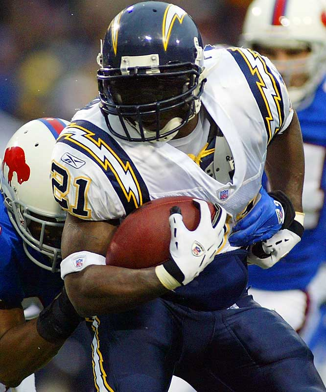 LaDainian Tomlinson produced 178 yards rushing and two touchdowns against Buffalo.  Tomlinson has run for over 100 yards in each of his last six games and scored 18 touchdowns in that span.