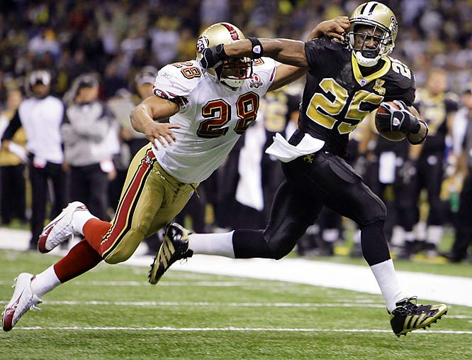 Reggie Bush tied Joe Horn's franchise record by scoring all four of the Saints' touchdowns against San Francisco. Bush had 131 yards receiving and 37 yards rushing.