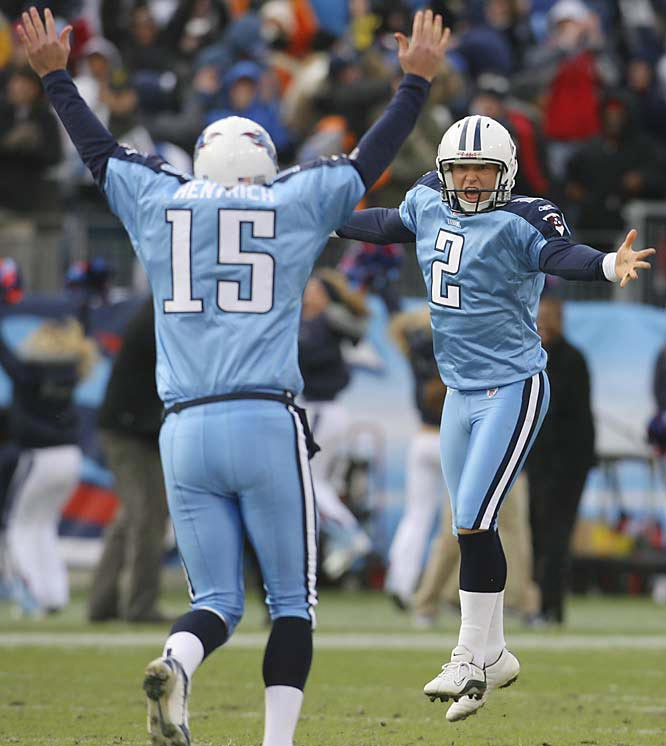 Rob Bironas kicked a franchise record 60-yard field goal with seven seconds left as Tennessee upset Indianapolis for their first victory over the Colts in four years.