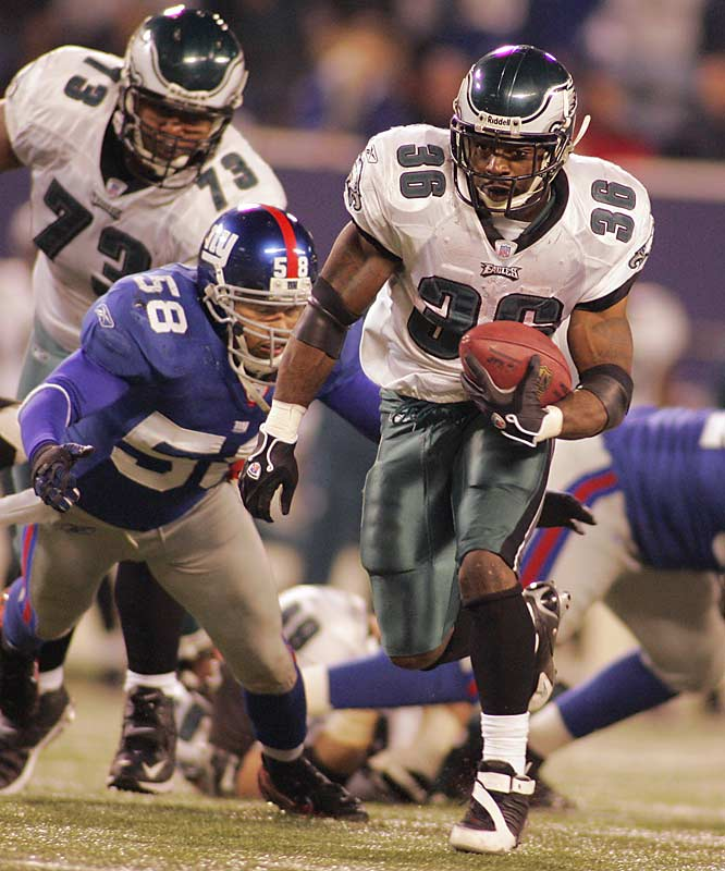 Brian Westbrook's 137 total offensive yards and two rushing touchdowns helped Philadelphia deal the Giants their fifth loss in six games and enabled the Eagles to move past New York in the NFC East.