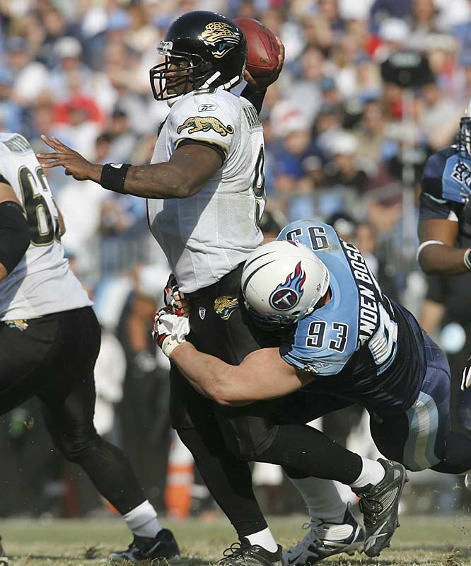 Two of David Garrard's three interceptions and one of Jacksonville's fumbles were returned for touchdowns by Tennessee, which won its fifth straight game.