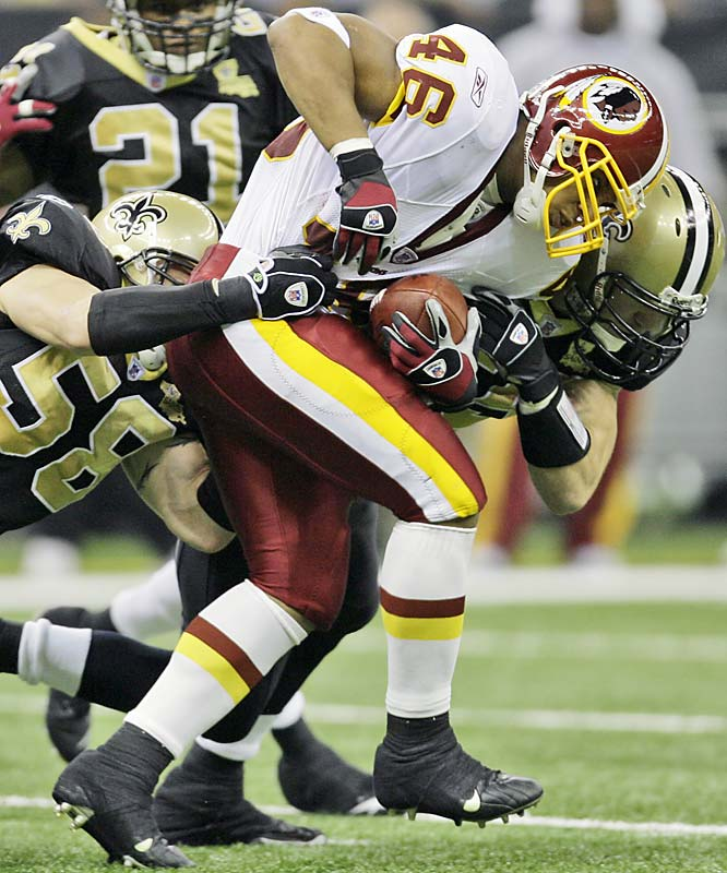 Ladell Betts, filling in since Clinton Portis was lost for the season with a broken hand, ran for 119 yards on 22 carries against New Orleans, his fourth consecutive game rushing over 100 yards.