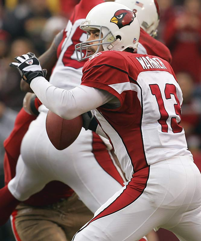 After riding the bench the previous 10 games, Kurt Warner came in to replace Matt Leinart, who injured his left shoulder following a sack late in the first half.  Warner completed 9 of 13 passes for 105 yards and no interceptions to help Arizona hold on for their fourth victory in six games.