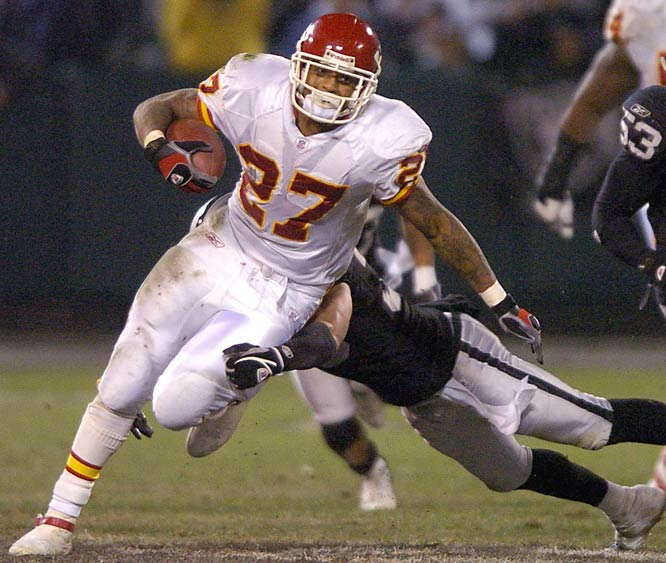 Larry Johnson ran for 135 yards and a touchdown on 31 carries against Oakland.  Johnson broke Christian Okoye's club record of 370 carries in a season with 383.