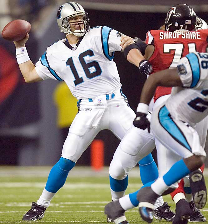 Chris Weinke won his first game in five years despite completing just four of seven passes for 32 yards against Atlanta. Weinke's 1-yard pass to Jeff King in the end zone was the game's only touchdown.