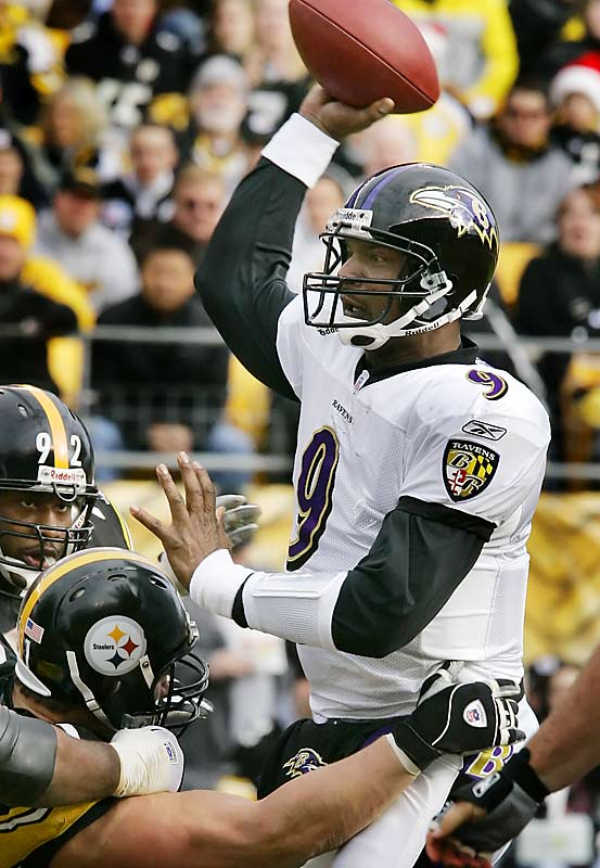 Steve McNair threw three touchdown passes against Pittsburgh, leading Baltimore to their 12th win of the season and tying a franchise record set by their Super Bowl championship team in 2000.