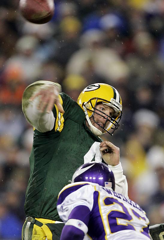 In what might have been his final game at Lambeau Field, Brett Favre managed to pull out a win despite throwing two interceptions, one of which was returned 47 yards for a touchdown in the second half.