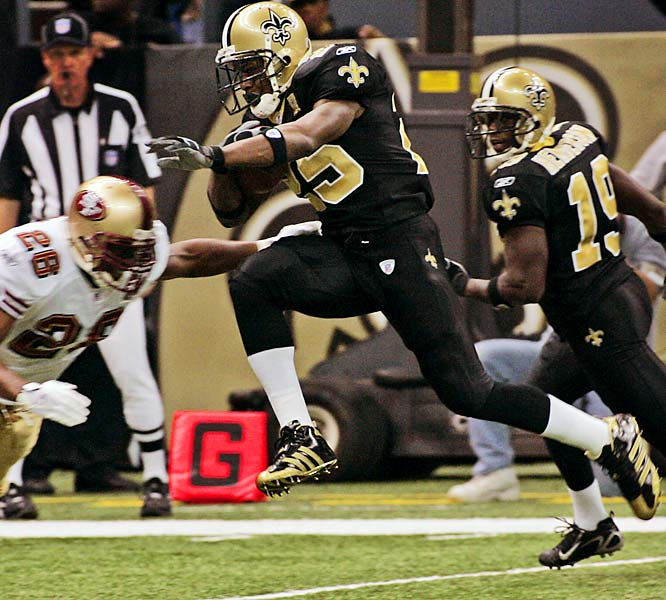 3 and 131 ... Reggie Bush ran for three touchdowns and had 131 receiving yards, making him the first player in NFL history with three rushing TDs and 130 or more receiving yards in the same game.