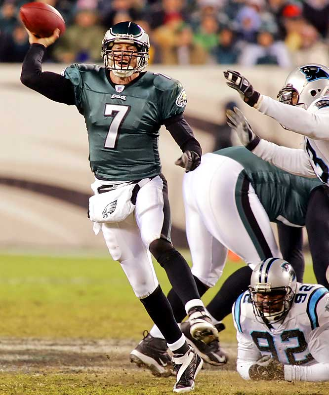 312 ... Eagles quarterback Jeff Garcia, who is 36, threw for 312 yards with three touchdowns and no interceptions against the Panthers on Monday, making him the oldest quarterback in four years with a 300-yard game with three TDs and no interceptions. The last to do it was Rich Gannon of the Raiders on Nov. 11, 2002.