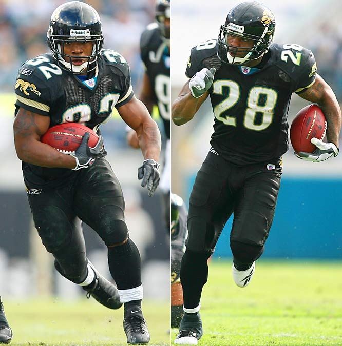 375 ... The Jaguars became the first team since the AFL-NFL merger with two backs with 118 or more rushing yards in the first half of a game. At halftime of their win over the Colts, Fred Taylor was 9-for-131 and Maurice Jones-Drew was 7-for-118. The only other team since 1970 with two 100-yard rushers by halftime was the Bills, who on Nov. 22, 1992, had Kenneth Davis (147) and Thurman Thomas (103) over 100 at halftime of a game against the Falcons.