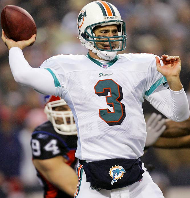 0.00 ... Joey Harrington became the first quarterback this decade to record a passer rating under 10 in two starts. Harrington's passer rating in the Dolphins' loss to the Bills was 0.00. While with the Lions in 2003, Harrington had a rating of 7.1 in a game against the Cowboys. Since 2000, there have been 11 games where a starting quarterback had a rating under 10, and Harrington has two of them. Harrington's 20 passing yards are the fewest on 17 or more attempts since the 1970 AFL-NFL merger. Seattle's Jim Zorn had 25 yards on 17 attempts against the Rams on Nov. 4, 1979.