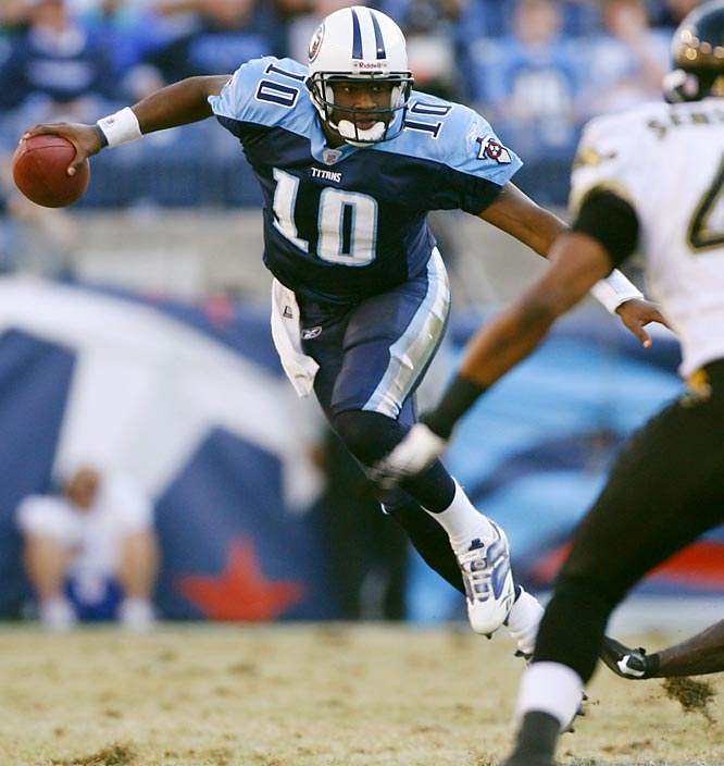 463 ... Vince Young's 463 rushing yards are the most in 45 years by a rookie quarterback. The Titans' rookie has the highest total since Billy Kilmer of the 49ers ran for 509 yards in 1961. Young has the third-highest rookie rushing total in NFL history and needs 81 yards to break the mark of 543 set in 1949 by Joe Geri of the Steelers.