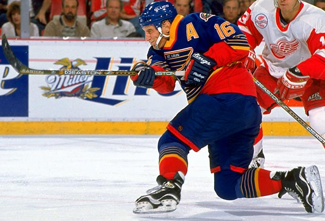 Hull arrived in St. Louis with his Hall of Fame father's booming slapper and a reputation for being lazy and overweight. Brett's nickname, Pickle, was inspired by his shape, but his numbers were fit: a team-leading 41 goals and 84 points in 1988-89. Yet, Blues coach Brian Sutter ordered him to work harder.