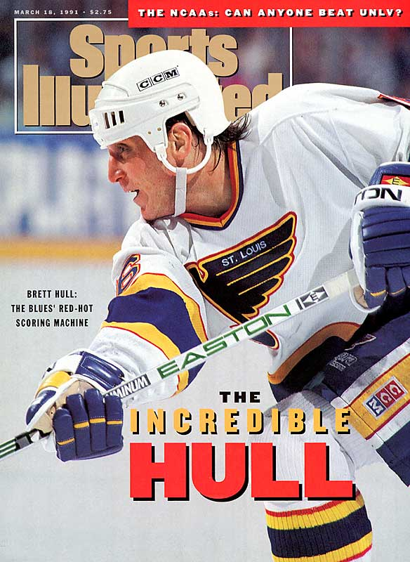By his third full season in St. Louis, the Golden Brett had become a scoring machine. Coming off a team-record 72-goal performance in 1989-90, Hull notched 86 goals and 131 points in 1990-91, finishing second to Wayne Gretzky in the scoring race but winning the Hart Trophy and Lester Pearson Award.