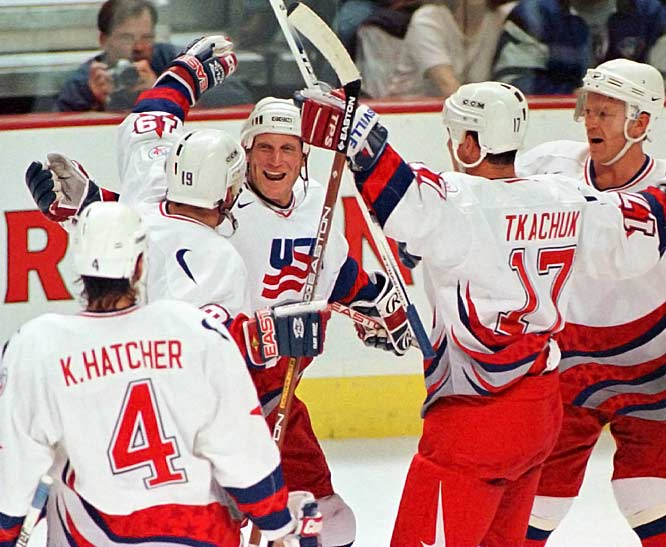 Representing the U.S. in the 1996 World Cup of Hockey, Hull was the team's leading scorer (7 goals, 4 assists). His two tallies against Russia powered Team USA into the best-of-three final where the Americans upset Canada. Hull even sang a version of Aretha Franklin's R-E-S-P-E-C-T on the bench.