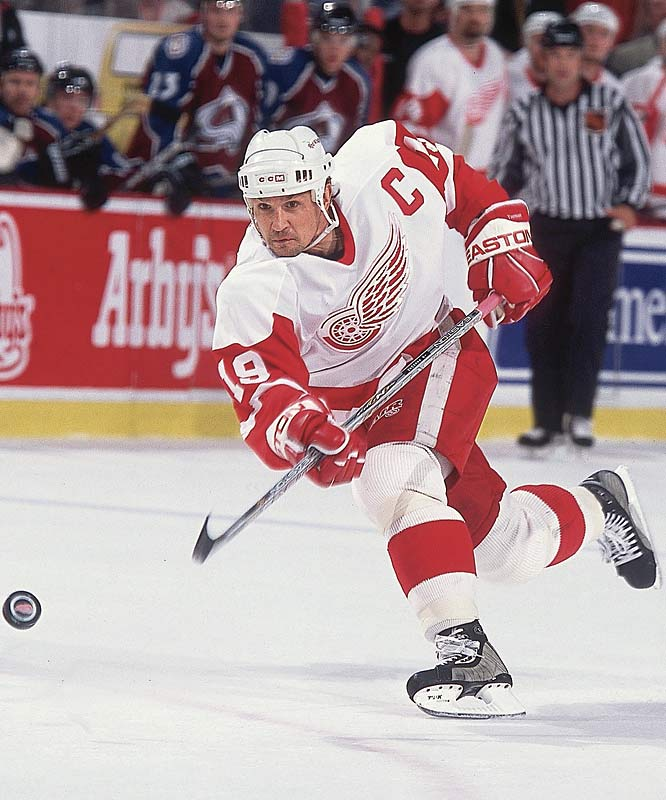 One of the most popular sports figures in Detroit, the man known simply as the Captain helped restore the downtrodden Red Wings to glory by winning three Stanley Cups during his 23-year career with the team. Yzerman scored 1,755 points, the sixth most in NHL history, and won an Olympic gold medal with Canada in 2002.