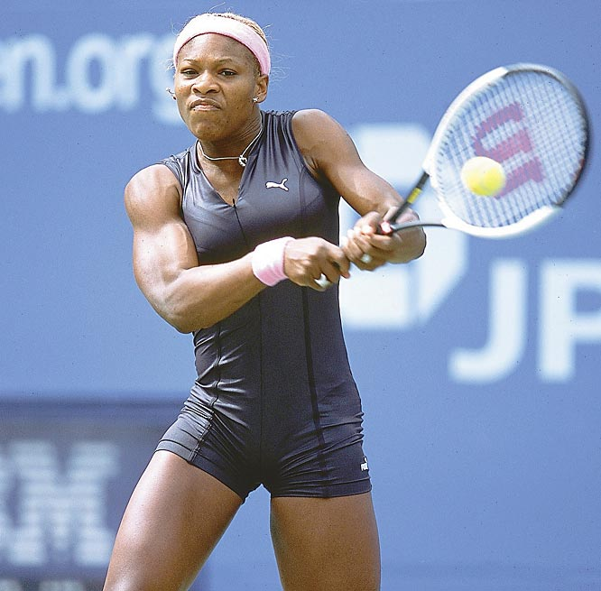 In an homage to White, Serena Williams created a stir when she played during the 2002 U.S. Open in a catsuit and a hot pink-zippered outfit.