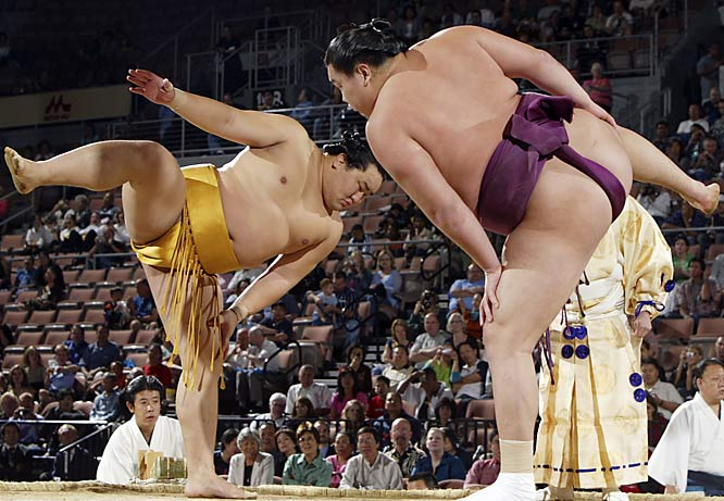 OK. We get the fact that sumo wrestlers still wear loincloth out of tradition, but that doesn't make it any easier for some to stomach.