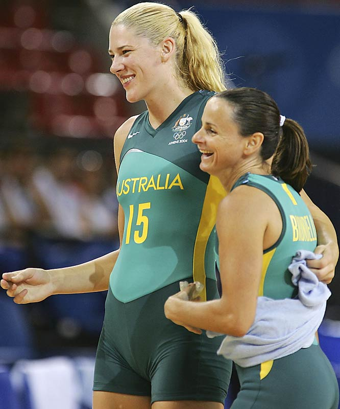 One-piece, skintight uniforms are fine in, say, a swimming pool. But a basketball court? The Australian women's national team goes over the edge with this unappealing form-fitting design.