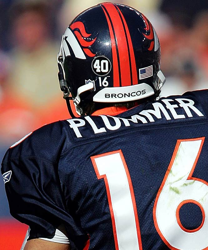 The NFL never fined Jake Plummer for his insistence on wearing a helmet sticker in honor of his former teammate Pat Tillman, who was killed in the war in Afghanistan, but the league did pressure Plummer to stop violating its rules regarding personal messages on uniforms.