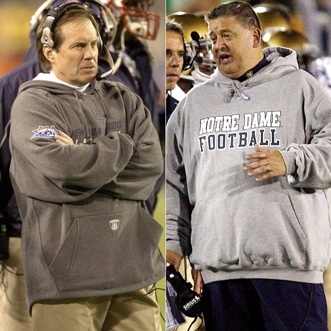 For a couple of guys who won a few Super Bowls together, Bill Belichick and Charlie Weis sure haven't let it go to their heads. Belichick often sports the grunge look on the sidelines, while Weis has been spotted in similar attire at his new haunts in South Bend.