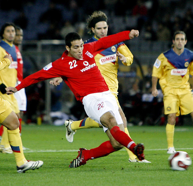 Mohamed Aboutrika scored twice in the third-place match at the Club World Cup, helping African champion Al-Ahly upset Mexico's América. Aboutrika scored three goals in the tournament as the Egyptian club put on a surprisingly strong showing, barely losing to Internacional in the semis.
